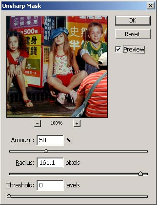 photoshop - using unsharp mask (usm) for contrast - usm values