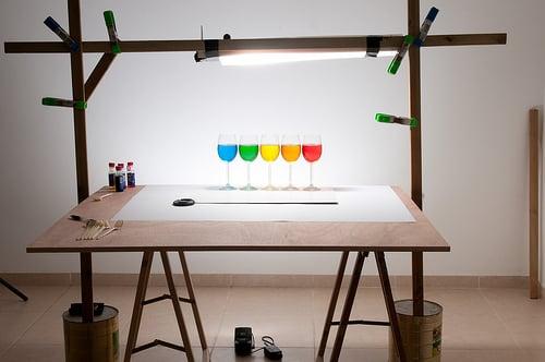 Playing with food color - 5 glasses setup