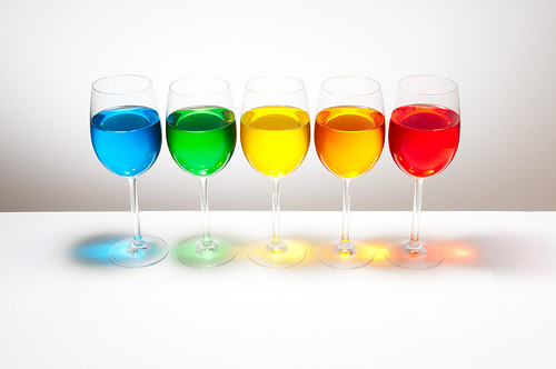Playing with food color - 5 glasses