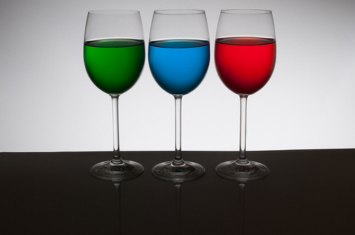 Playing with food color - 3 glasses back light only