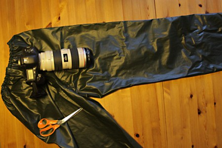 Protect Your Camera From Rain Using An Old Pair Of Rain Trousers
