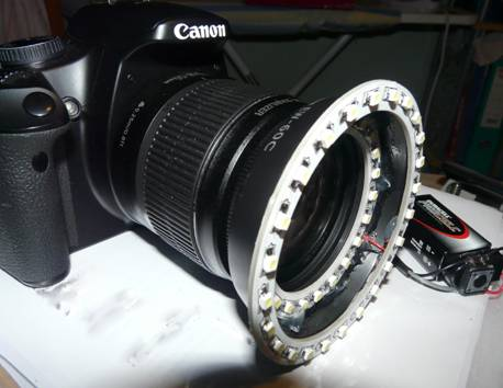 LED ring light on Lens