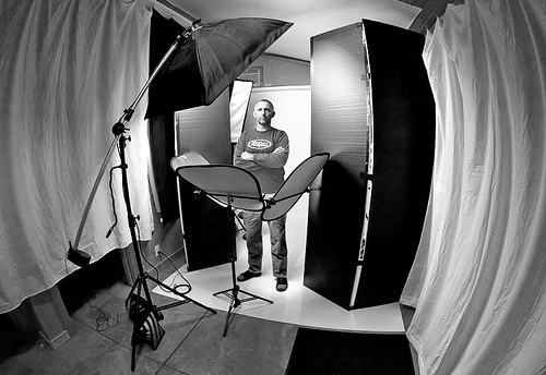 Studio set up for my 2nd portrait of Fred