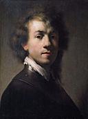 Rembrandt van Rijn (atelier kopie) - Portret van Rembrandt met een ringkraag