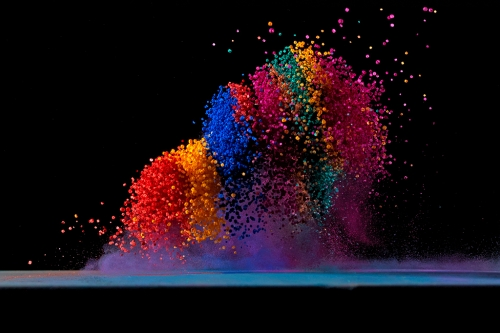 Capturing Colored Salt Thrown By Speaker Sound