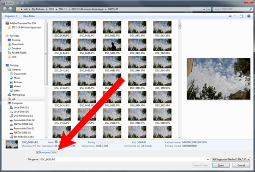 "Quick Tip: Import ""Numbered Stills"" For Time Lapse"