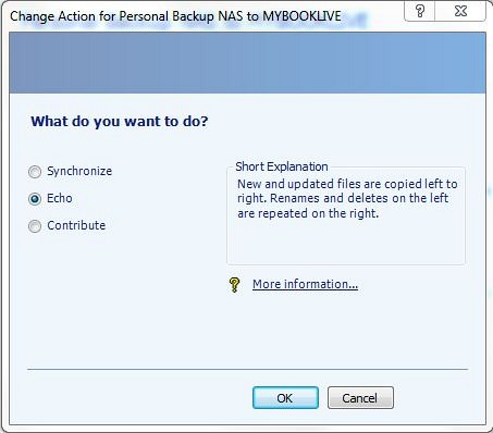microsoft synctoy how to set up action echo
