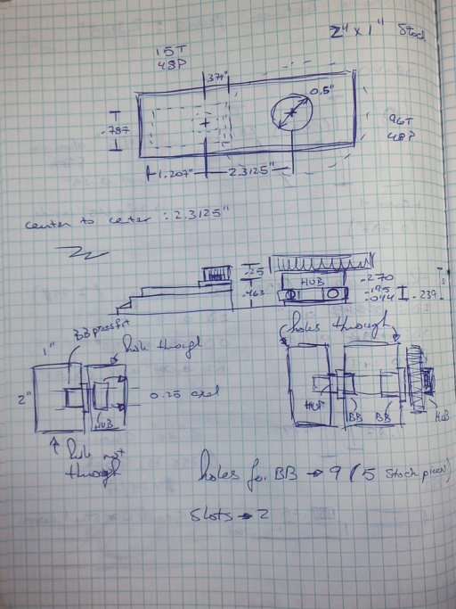 Initial sketches of pan/tilt design