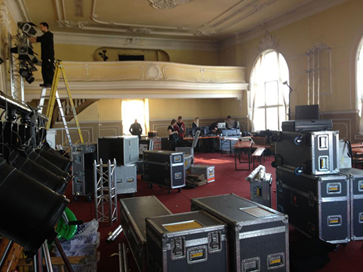the ballroom with some of the gear