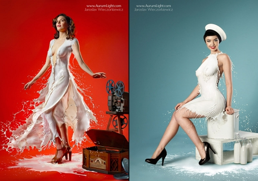 Milky Pin-Ups Are Traditional-40S Pinup Photos Made With High-Speed Milk [NSFW]