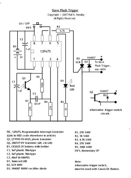 optical flash slave circuit