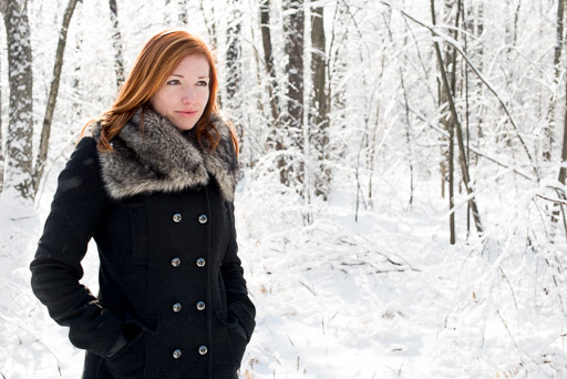 Outdoor winter lifestyle portrait woman in snow JP Danko Toronto commercial photographer