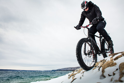 winter mountain biking man riding fat bike in the snow in winter jp danko toronto commercial photographer blurmedia