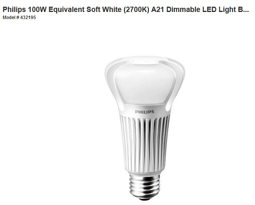 Home Depot Philips 100W Equivalent Soft White LED Light Bulb