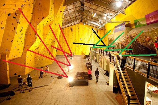Indoor Rock Climbing Gym Lighting Setup
