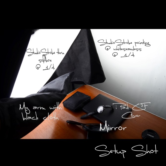My hand with a black bag at the left to create a shadow on the watch. Mirror on the right to create a 3rd lightsource.