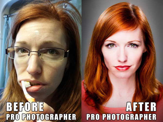 Before and After professional photographer glamor portrait lighting and photoshop jp danko totonto commercial photographer
