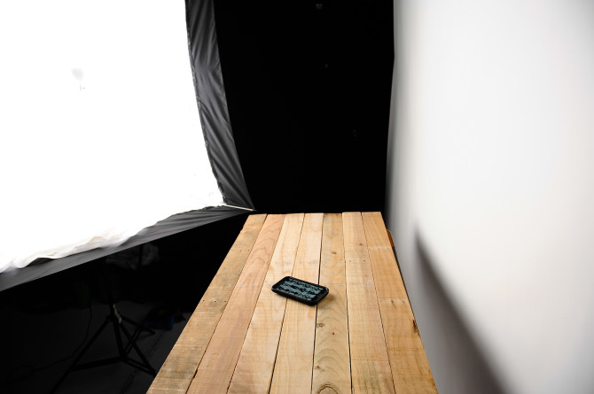 Setup shot using the big mama and my white seamless paper as a reflector