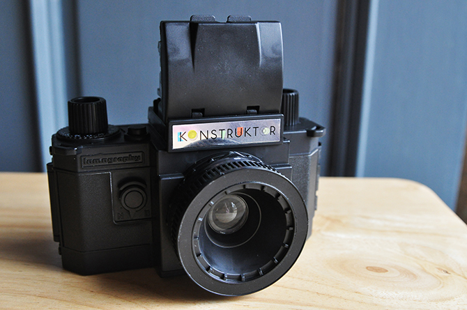 Fully assembled, with standard vertical viewfinder hood.