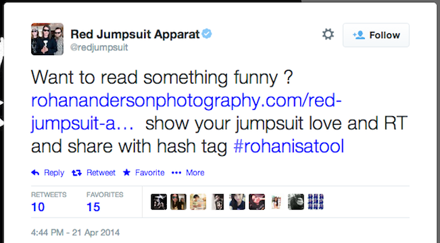 Red Jumpsuit's Twitter