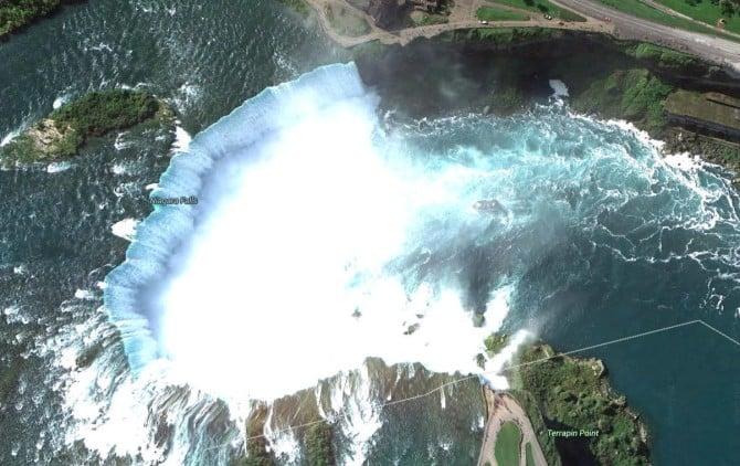 Google Earth View of Niagara Falls