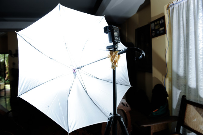 Using a normal umbrella taped to a tripod for mainlight