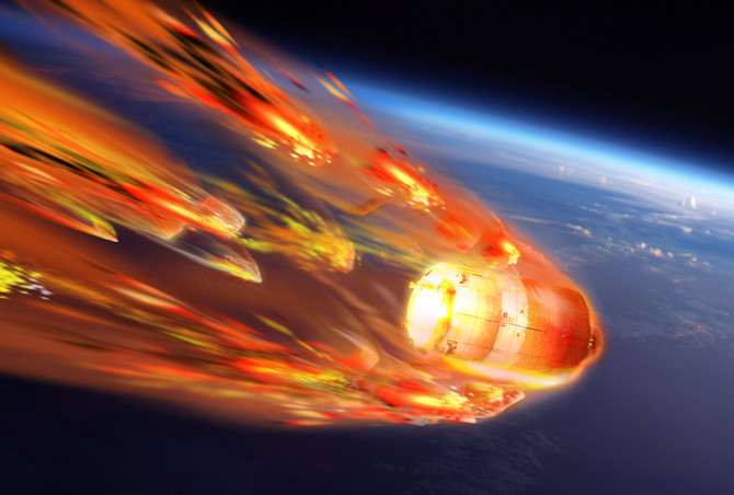 Artists rendering of ATV-5  burning up during reentry into earth's atmosphere.
