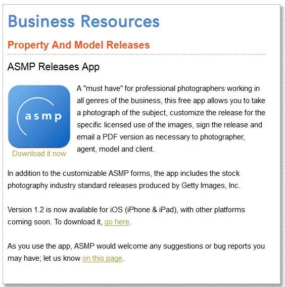 asmp release app model release mobile app