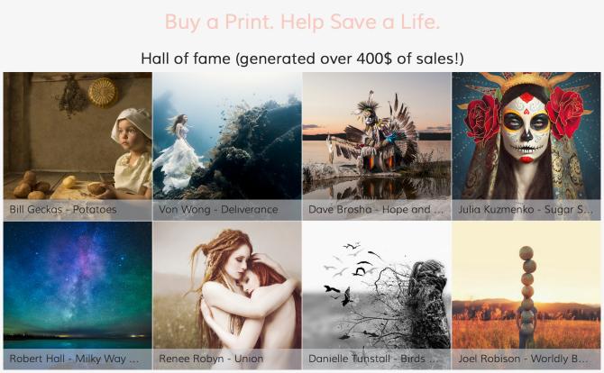 """""""buy a print – help safe a live""""  - SmugMug's """"Hall of fame"""""""
