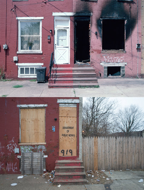 919 South 9th St., Camden, 2004 (above); 919 South 9th St., Camden. Buddy, a retired construction worker and the neighbor of 50 years, fenced the empty lot to use it as a vegetable garden, 2013 (below)