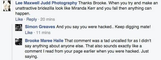 Was this the hacker again referring to the bride as bridezilla?