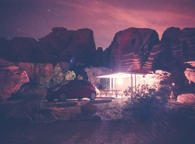 Arch Rock Campground, Valley of Fire, NV, OnePlus One, 64s, f/2, ISO 3200, Processed