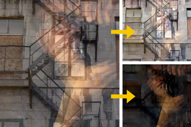 MIT researchers have created a new algorithm that, in a broad range of cases, can automatically remove reflections from digital photos. On the left is the original photo taken through a window, with the photographer's reflection clearly visible. On the right, the reflection has been separated from the photo. Credit: Courtesy of the researchers