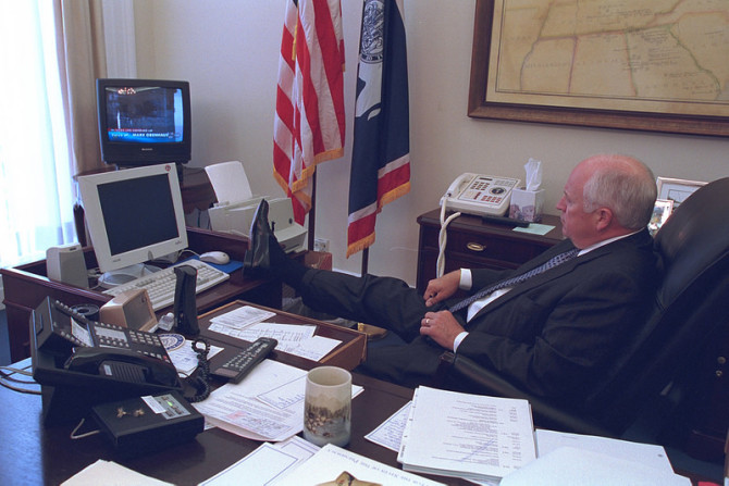 Vice President Cheney Watches Television