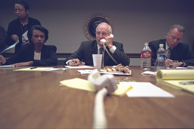 """Vice President Cheney with National Security Advisor Condoleezza Rice and Chief of Staff I. Lewis """"Scooter"""" Libby in the President's Emergency Operations Center"""
