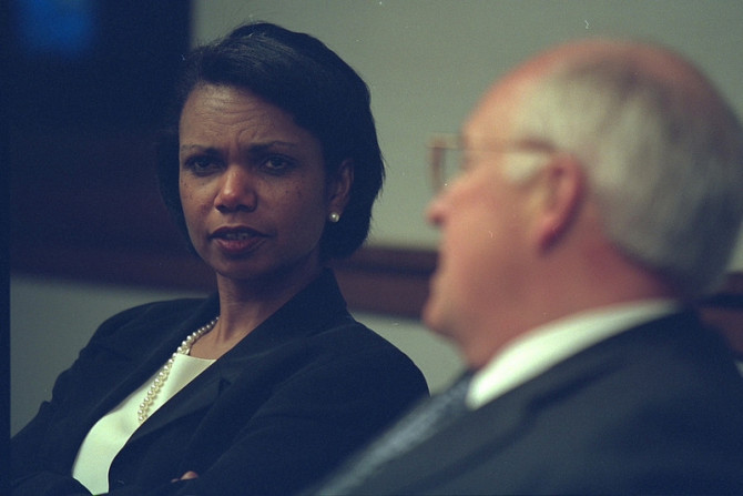 Vice President Cheney with National Security Advisor Condoleezza Rice in the President's Emergency Operations Center