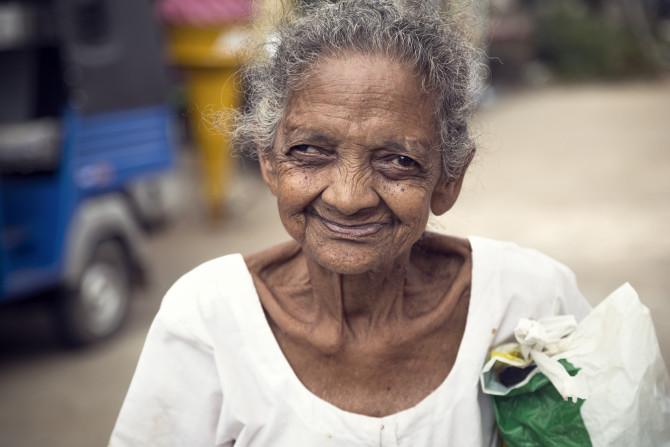 Sri Lankan grandmother with her heartwarming smile