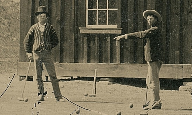 A crop of the 1878 photo of Billy the Kid (left). Source: Kagin's.
