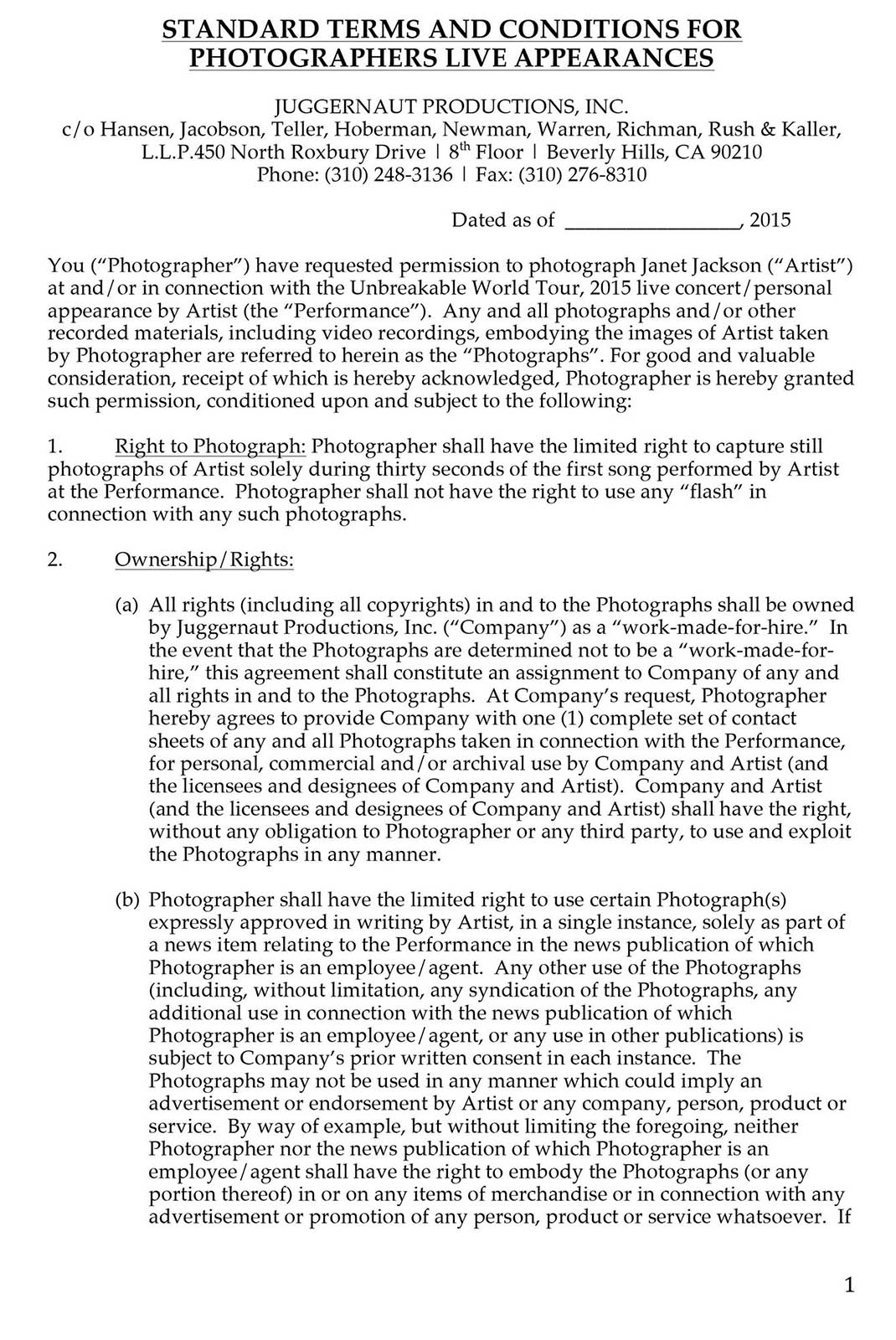 STANDARD TERMS AND CONDITIONS FOR PHOTOGRAPHERS