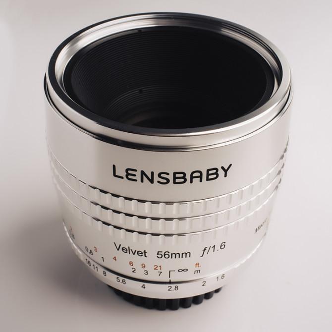 The Lensbaby Velvet 56mm f1.6 lens in the silver finish