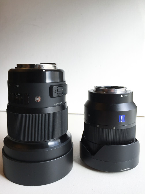 The Sigma 20mm f/1.4 Art is definitely a big lens. Here it is next to my Sony FE 24-70 f/4.