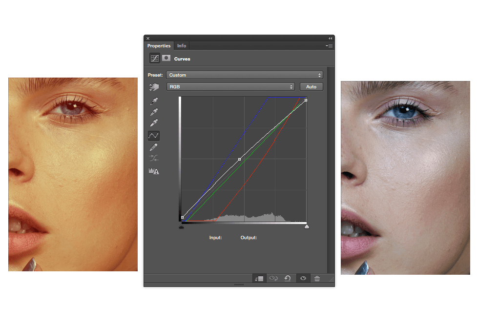 The curves will automatically make the necessary adjustments to the image, correcting the tint.