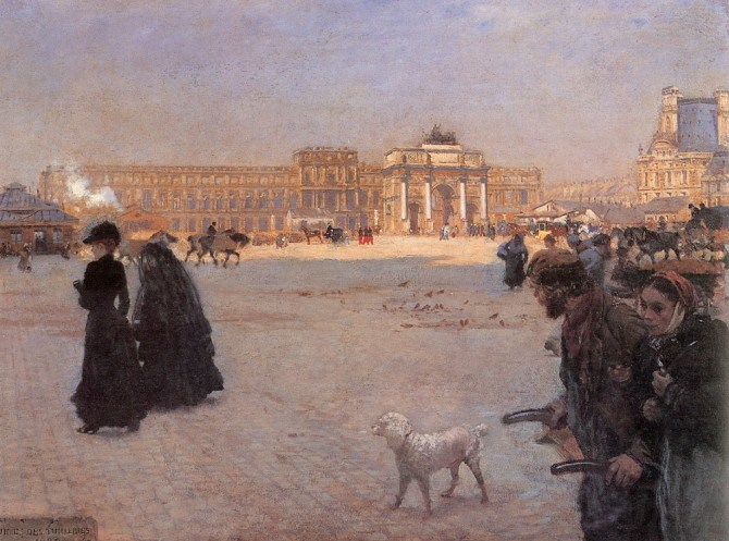 Giuseppe de Nittis – The place de carrousel and the ruins of the tuileries palace in 1882 (from ArtRenewal.org)