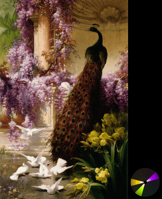 Eugene Bidau – A Peacock and doves in a Garden (from ArtRenewal.org)