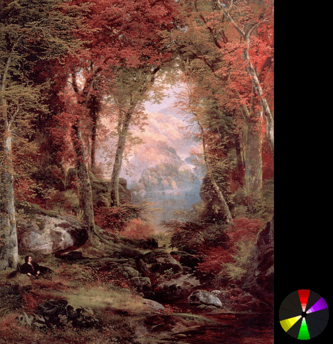 Thomas Moran – The autumnal woods (under the trees) from ArtRenewal.org