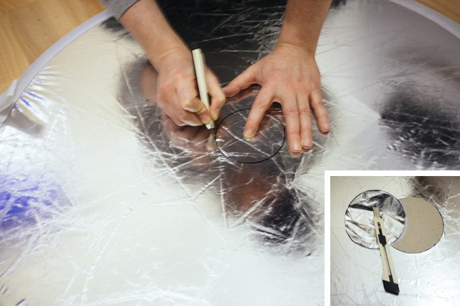 Cut the hole ensuring you've got your cutting mat beneath to protect the floor.