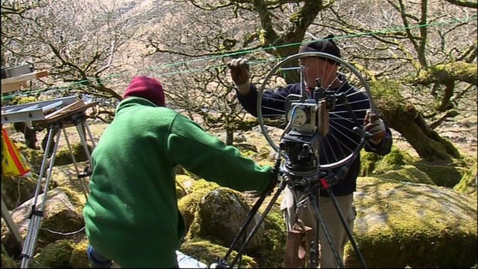 Cameramen at the BBC with their own DIY Camera Slider rig.