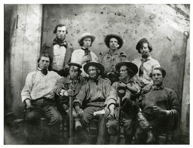Daguerreotype: Group of miners, courtesy California Historical Society, CHS2010.238.tif Made available via Flickr Commons.