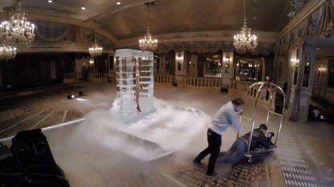 BTS look at the creation of an on-location ice sculpture for a Vogue photoshoot